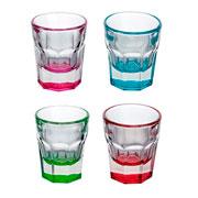 Jogo de shots coloridos de vidro 36 ml 04 peças