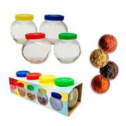 Conjunto mini potes de vidro colors 04 peças
