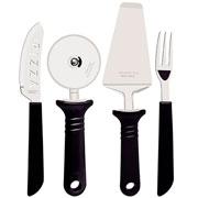 Jogo para pizza preto 14 peças - Tramontina