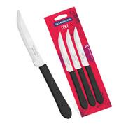 Conjunto de facas de churrasco preta 3 peças - Linha Leme - Tramontina