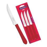 Conjunto de facas de churrasco vermelha 3 peças - Linha Leme - Tramontina