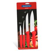Jogo de facas de inox vermelha 04 peças - Tramontina
