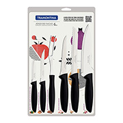 Jogo de facas inox Plenus preto 06 peças- Tramontina