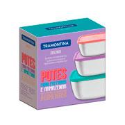 Jg de potes quadrados  inox com tampa plastica 03 peças - Tramontina