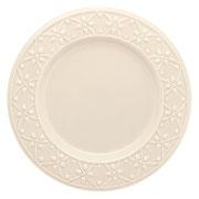 Prato de porcelana raso Relevo Marfim 26 cm