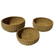 Jogo de cestas de fibra natural redonda 03 peças