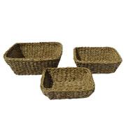 Jogo de cestas de fibra natural retangular 03 peças