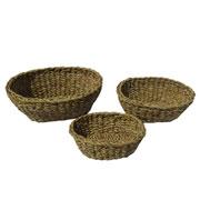 Jogo de cestas de fibra natural oval 03 peças