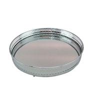 Bandeja em metal redonda prata 26 cm