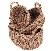Jogo de cestas de fibra ovais com alça 03 peças.