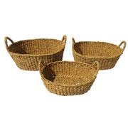 Jogo de cestas de fibra natural com alças 03 peças