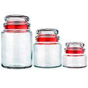 Jogo porta mantimentos em vidro Vermelho 03 peças