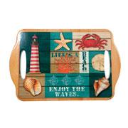Bandeja em cerâmica deep sea beach 28x18 cm