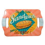 Bandeja em cerâmica sandwich 28x18 cm