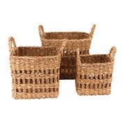 Jogo de cestas de fibra natural quadradas 03 peças