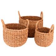 Jogo de cestas de fibra natural redondas 03 peças