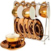 Jogo de xicara para café chrominno dourada 13 peças