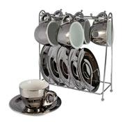 Jogo de xicaras para café chrominno prata com suporte 12 peças