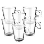 Jogo de xícaras de vidro plain coffe 80 ml 06 peças