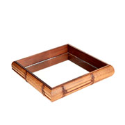 Bandeja de madeira quadrada espelhada marrom 27x05 cm