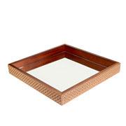Bandeja de madeira quadrada espelhada marrom 36x05 cm