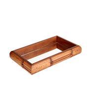 Bandeja de madeira quadrada espelhada marrom 29x19x05 cm