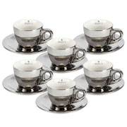 Jogo de xicaras para café chrominno prata 80 ml 12 peças