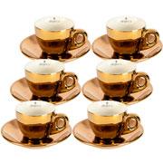 Jogo de xicaras para café chrominno dourada 80 ml 12 peças