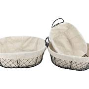 Jogo de cestas ovais com alça em ferro e tecido 03 peças