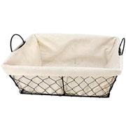 Jogo de cestas retangulares com alça em ferro e tecido 03 peças