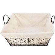 Jogo de cestas quadradas com alça em ferro e tecido 03 peças