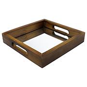 Bandeja de madeira quadrada 27x27x05cm