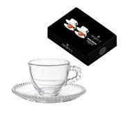 Jogo de xícaras de cristal para chá bolinha 200 ml 08 peças