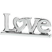 Enfeite em cerâmica Love prata 27x11 cm