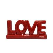 Enfeite em cerâmica Love vermelho 30x13 cm
