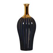 Garrafa decorativa em cerâmica waves azul marinho 33 cm