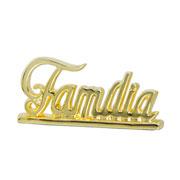 Enfeite em cerâmica Família dourado 27x12 cm