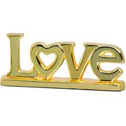 Enfeite em cerâmica Love dourado 27x11 cm