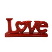 Enfeite em cerâmica Love vermelho 27x11 cm