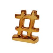 Enfeite em cerâmica Hashtag bronze 07x08 cm