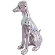 Escultura de cerâmica galgo inglês prata