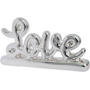 Enfeite em cerâmica Love prata 13x07 cm