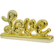 Enfeite em cerâmica Love dourado 13x07 cm