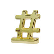 Enfeite em cerâmica Hashtag dourado 07x08 cm