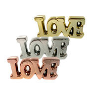 Enfeite de cerâmica Love prata/dourado/rose 17x08 cm