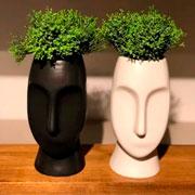 Vaso de cerâmica rosto sortido