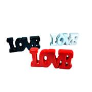 Enfeite de cerâmica Love preto/vermelho/branco 17x08 cm