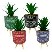 Vaso de cerâmica com pé planta artificial 19 cm