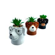 Vaso de cerâmica com planta artificial animal