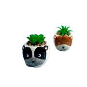 Vaso de ceramica com planta artificial animal
